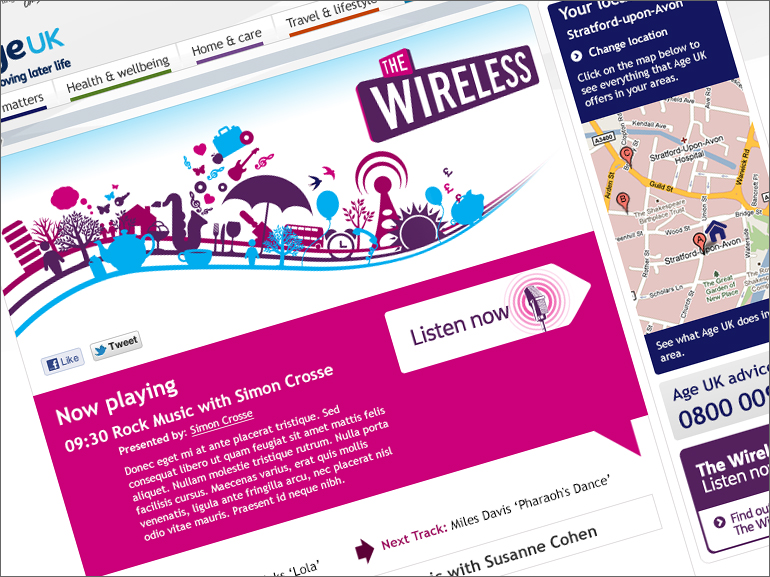 Age UK - The Wireless landing page design