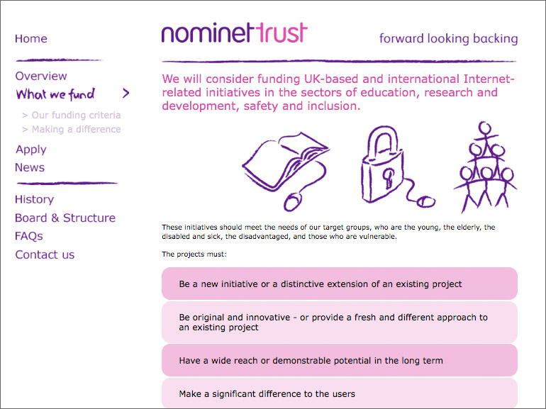 Nominet What We Fund page design