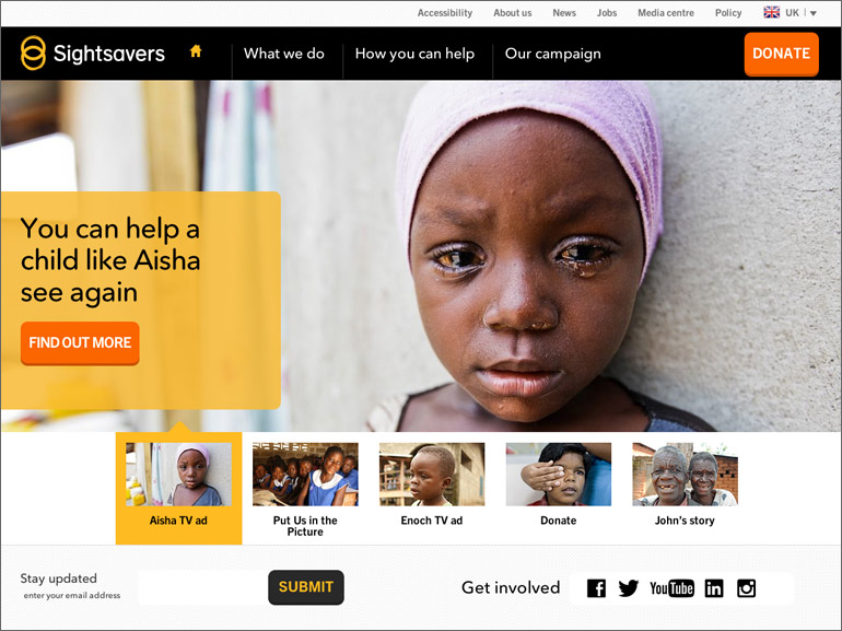 Sightsavers Fundraising Homepage