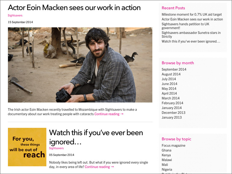 Sightsavers Fundraising News section